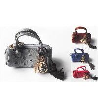オーストリッチコインケースレディース財布バッグチャームキーケースキーホルダーウォレット本革皮可愛いおしゃれファスナー風水金運
