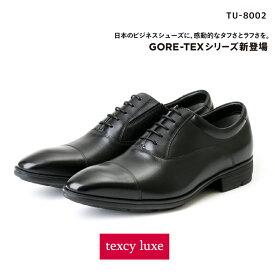 【ポイント10倍】texcy luxe(テクシーリュクス) ビジネスシューズ 革靴 メンズ 本革 防水タイプ ゴアテックス GORE-TEX ストレートチップ TU-8002