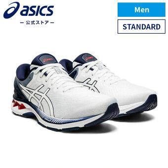 GEL-KAYANO 27 WHITE/PEACOAT 1011a767 100アシックス ゲルカヤノ ランニング メンズランニングシューズ スポーツシューズ 運動靴 スニーカー