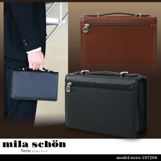 Second bag clutch bag mens mila schon Shon Nero Nero leather leather A4 under horizontal light three-way opening made in Japan bags bag brand ranking presents gift