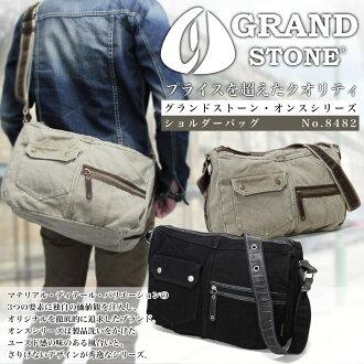 Shoulder bag men's GRAND STONE Grande tone OUNCE oz also bag shoulder canvas A4 horizontal light bags bag brand ranking presents gift