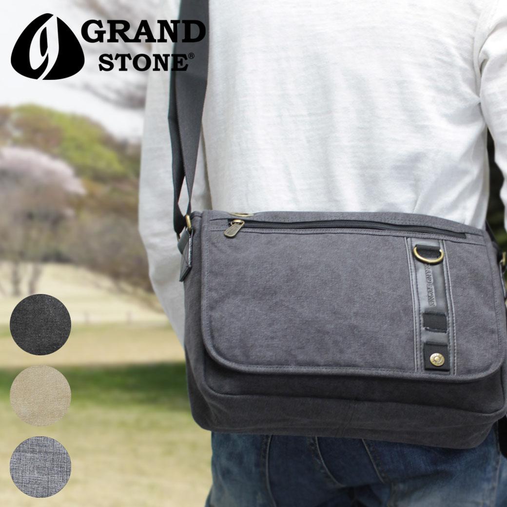 【ポイント12倍中!】ショルダーバッグ メンズ GRAND STONE グランドストーン マスト 斜めがけバッグ 肩掛け 帆布 A4未満 横型 軽量 メンズバッグ バッグ ブランド ランキング プレゼント ギフト 小さめ q39bC07 (8814)
