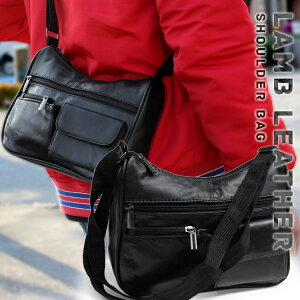 街歩きに丁度いい、シンプル&コンパクトサイズ。一部ラム革使用 ショルダーバッグ LGG-05 メンズ レディース ポーチ ショルダーバック 小さめ 羊革 ブラック ウエストポーチ 黒 おしゃれ 通