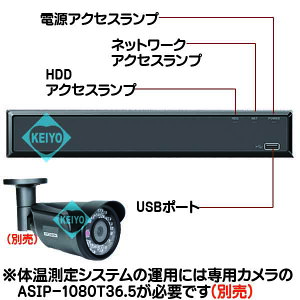 ASR-404P-T365【温度検知カメラ対応PoE搭載2TB内蔵カメラ4台用NVR】