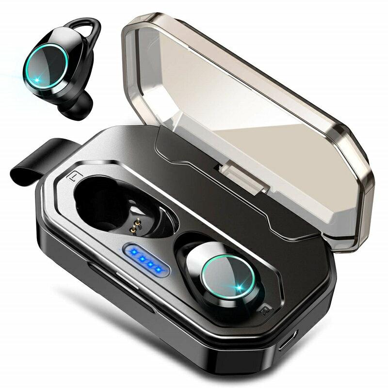 ワイヤレスイヤホン Bluetooth 5.0 送料無料 ワイヤレ スイヤホン 通話 対応 高音質 ミュージック Bluetooth 防水 タッチ式 ブルートゥース イヤホン 大容量充電式収納ケース付き マイク内蔵 自動ペアリング Siri対応