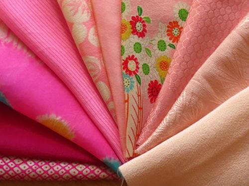 【中古】ピンク系はぎれ 正絹古布10色セット☆小物作り・パッチワークに
