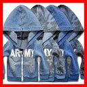韓国子供服 男の子 女の子 パーカー【デニム地 ARMYジップアップパーカー キッズ ジュニアパーカー】韓国子供服 男の…