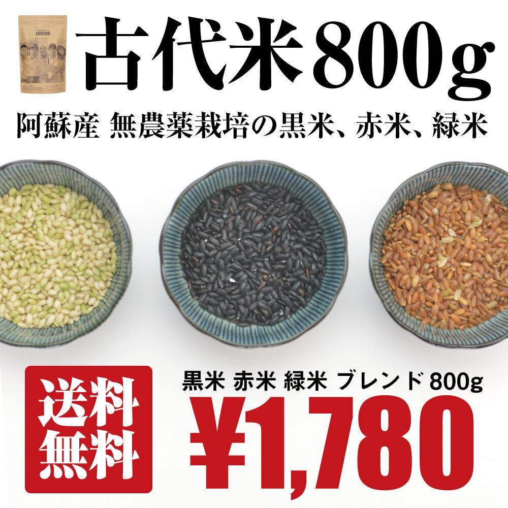 [送料無料][無農薬栽培][800g] 古代米 800g / 黒米、緑米、赤米 / 無農薬栽培 / 九州 熊本 阿蘇産 / 国産 / 雑穀 / 29年度産 / 赤米単品は完売