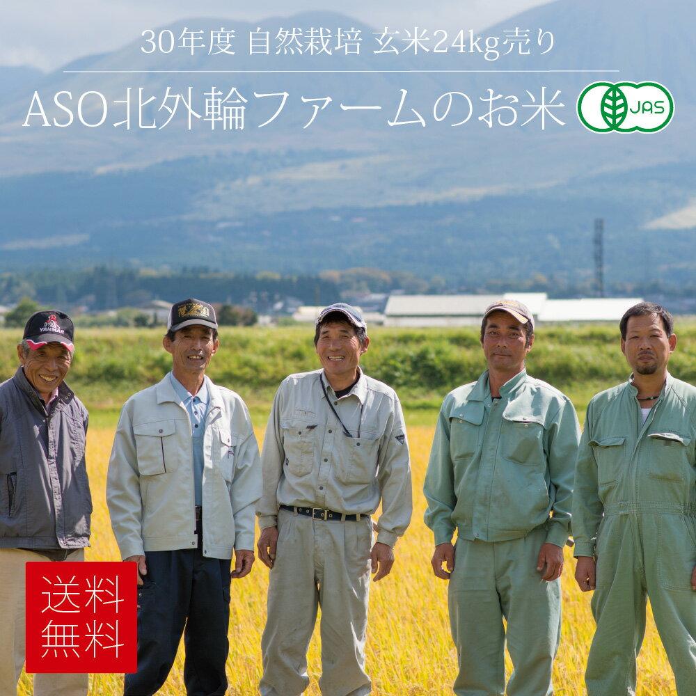 [セール][送料無料][有機JAS認定 自然栽培米] ASO北外輪ファームの玄米 24kg / 無農薬・無施肥栽培 / 九州 熊本 阿蘇産 / コシヒカリ、ヒノヒカリ