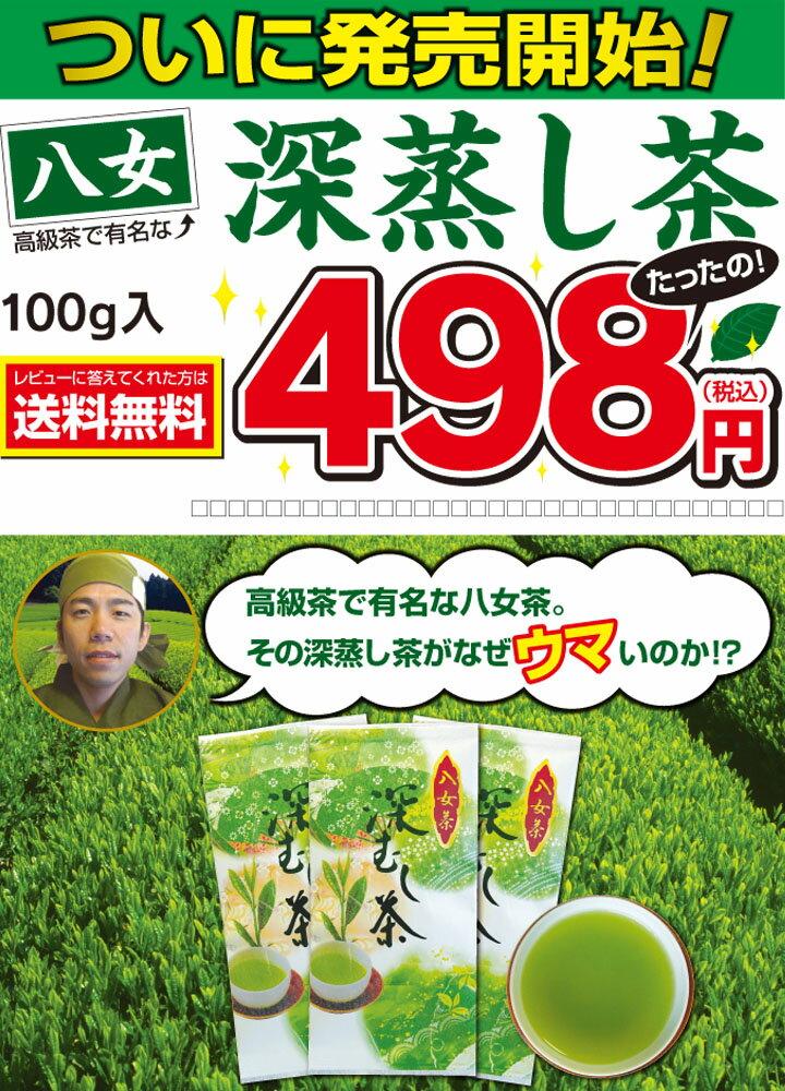 八女深蒸し茶100gメール便発送【送料無料】ついに販売開始!498円お試しキャンペーン特価!5本以上お買上げで特典あり
