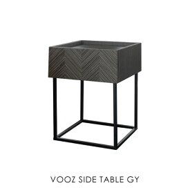 \ポイント最大10倍!9日 1:59まで/VOOZ SIDE TABLE ヴーズサイドテーブル ナイトテーブル リビング アイアン アンティーク 北欧 おしゃれ 木製 グレー ヘリンボーン スリム 高さ55cm カフェ 小さめ 小さい ミッドセンチュリー 正方形