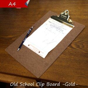 penco ペンコ クリップボード A4 おしゃれ オールドスクール ゴールド チェック 用箋挟 クリップ ボード 壁掛け サイン 署名 伝票 挟む バインダー ブラウン スクール アメリカン