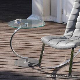 \ ポイント最大33.5倍 24日 1:59まで/BRASS SIDE TABLE CL ブラスサイドテーブル クリア コンパクト ナイトテーブル 丸 円形 モダン 北欧 おしゃれ シルバー 家具 ガラス 高級感 LLT-8514
