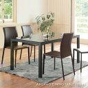 ARGANO DINING TABLE 150 BK アルガノダイニングテーブル ブラック 4人用 アンティーク 脚 おうちカフェ 家具 おしゃれ 可愛い 北欧 木目 黒 ガラス スチール GDT-7729