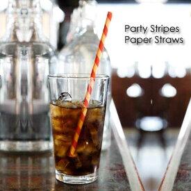 Party Stripes Paper Straws パーティーストライプペーパーストロー ストロー ストライプ 柄 パターン セット レトロ キッチン カラフル KIKKERLAND キッカーランド ブランド 紙 ペーパー パーティー