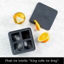 """製氷器 キッチン 雑貨 氷 Peak Ice Works """"King cube ice tray"""" アウトドア おしゃれ ギフト ブラック 家庭用 アイスメーカ..."""