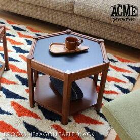 \ポイント最大10倍!11日 1:59まで/ACME FURNITURE BROOKS HEXAGON TABLE BLACK ブルックスヘキサゴンテーブル ブラック 黒 サイドテーブル 六角形 収納 棚付き 家具 おしゃれ 可愛い 北欧 木製 西海岸 ミニテーブル