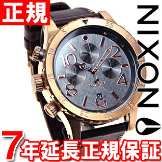 Nixon NIXON 48-20 leather】all 48-20 CHRONO LEATHER watch men's chronograph rose gold and gunmetal / Brown NA3632001-00