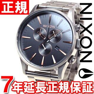 ニクソン NIXON セントリークロノ SENTRY CHRONO 腕時計 メンズ クロノグラフ グレイ/ローズゴールド NA3862064-00