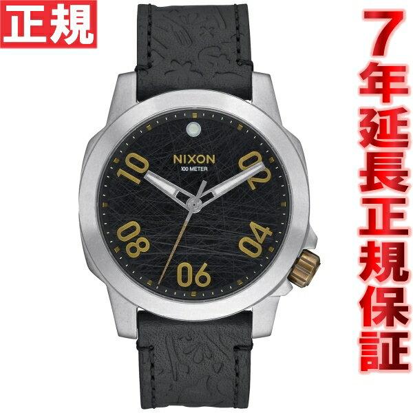 ニクソン NIXON レンジャー40レザー RANGER 40 LEATHER 腕時計 メンズ ブラック/ブラス NA4712222-00【あす楽対応】【即納可】