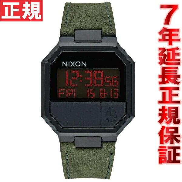 ニクソン NIXON リ・ランレザー RE-RUN LEATHER 腕時計 メンズ/レディース オールブラック/グリーン NA944032-00