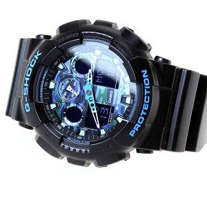 カシオGショックCASIOG-SHOCK腕時計メンズブラック×ブルーカモフラージュアナデジGA-100CB-1AJF
