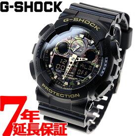 【本日限定!最大1万円OFFクーポン&店内ポイント最大39倍!25日23時59分まで】G-SHOCK ブラック カモフラージュダイアル 腕時計 メンズ アナデジ GA-100CF-1A9JF