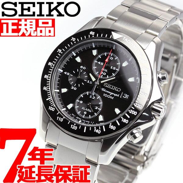 セイコーSEIKO逆輸入 クロノグラフ ブラック アラームクロノ 腕時計 メンズ SNA487【あす楽対応】【即納可】