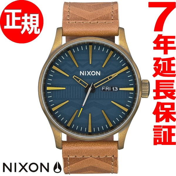 ニクソン NIXON セントリー レザー SENTRY LEATHER 腕時計 メンズ ブラス/ネイビー/ヒッコリー NA1052731-00【2017 新作】【あす楽対応】【即納可】