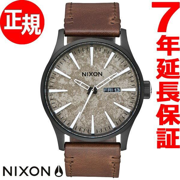ニクソン NIXON セントリー レザー SENTRY LEATHER 腕時計 メンズ ブラック/コンクリート NA1052687-00