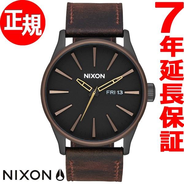 ニクソン NIXON セントリー レザー SENTRY LEATHER 腕時計 メンズ オールブラック/ブラウン/ブラス NA1052786-00【2017 新作】