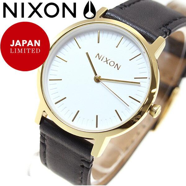 ニクソン NIXON ポーター 35 レザー PORTER 35 LEATHER 日本限定モデル 腕時計 メンズ レディース ゴールド/ブラック NA11992523-00
