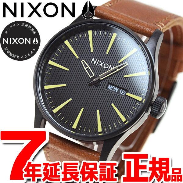 ニクソン NIXON セントリー レザー SENTRY LEATHER 腕時計 メンズ ブラック/スタンプ/ブラウン NA1052664-00