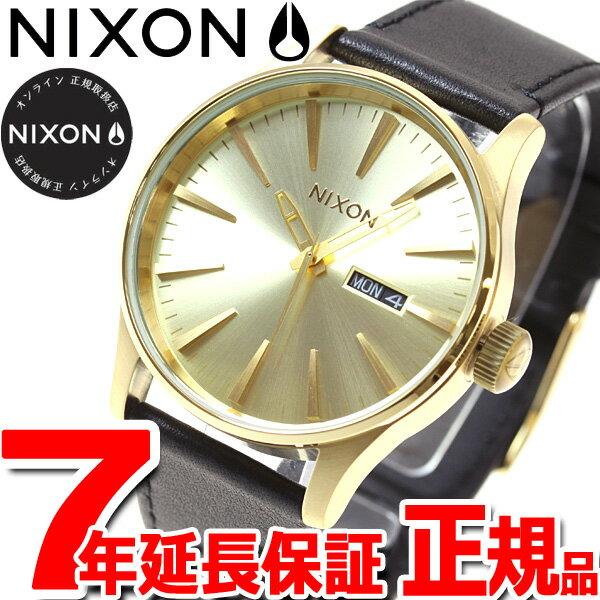 ニクソン NIXON セントリー レザー SENTRY LEATHER 腕時計 メンズ オールゴールド/ブラック NA105510-00【2017 新作】【あす楽対応】【即納可】