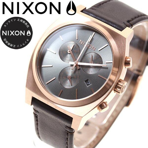 ニクソン NIXON タイムテラー クロノ レザー TIME TELLER CHRONO LEATHER 腕時計 メンズ ローズゴールド/ガンメタル/ブラウン NA11642001-00