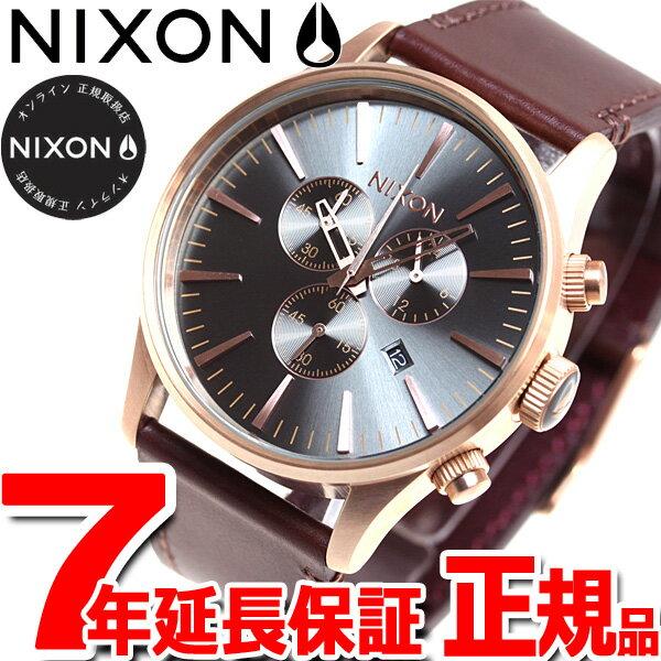 本日ポイント最大37倍!26日1時59分まで!ニクソン NIXON セントリー クロノ レザー SENTRY CHRONO LEATHER 腕時計 メンズ ローズゴールド/ガンメタル/ブラウン NA4052001-00