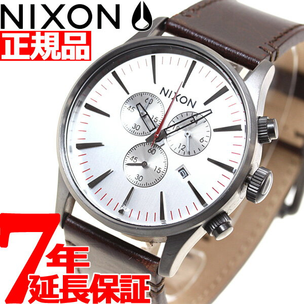 ニクソン NIXON セントリー クロノレザー SENTRY CHORNO LEATHER 腕時計 メンズ クロノグラフ ガンメタル/シルバー/ダークブラウン NA4052665-00
