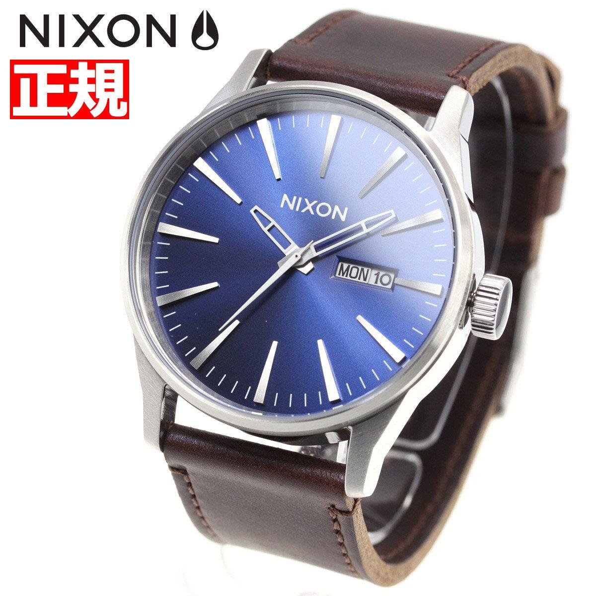 先着!クーポンで最大2千円OFF!+ポイント最大26倍!明日0時スタート!ニクソン NIXON セントリーレザー SENTRY LEATHER 腕時計 メンズ ブルー/ブラウン NA1051524-00