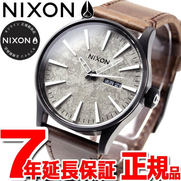 本日ポイント最大37倍!26日1時59分まで!ニクソン NIXON セントリー レザー SENTRY LEATHER 腕時計 メンズ ブラック/コンクリート NA1052687-00