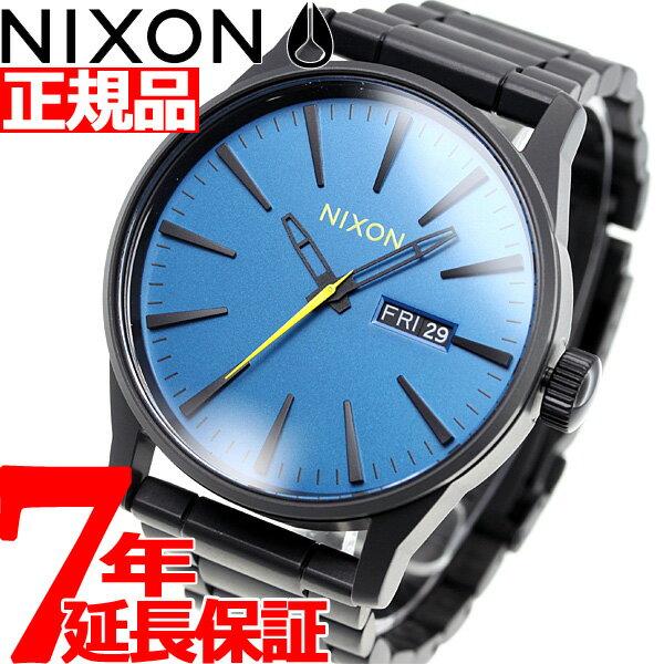 ニクソン NIXON セントリーSS SENTRY SS 腕時計 メンズ オールブラック/シーポートブルー NA3562755-00