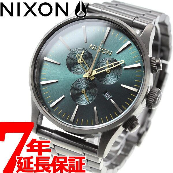 本日ポイント最大37倍!26日1時59分まで!ニクソン NIXON セントリー クロノ SENTRY CHORNO 腕時計 メンズ クロノグラフ ガンメタル/スプルース/ブラス NA3862789-00