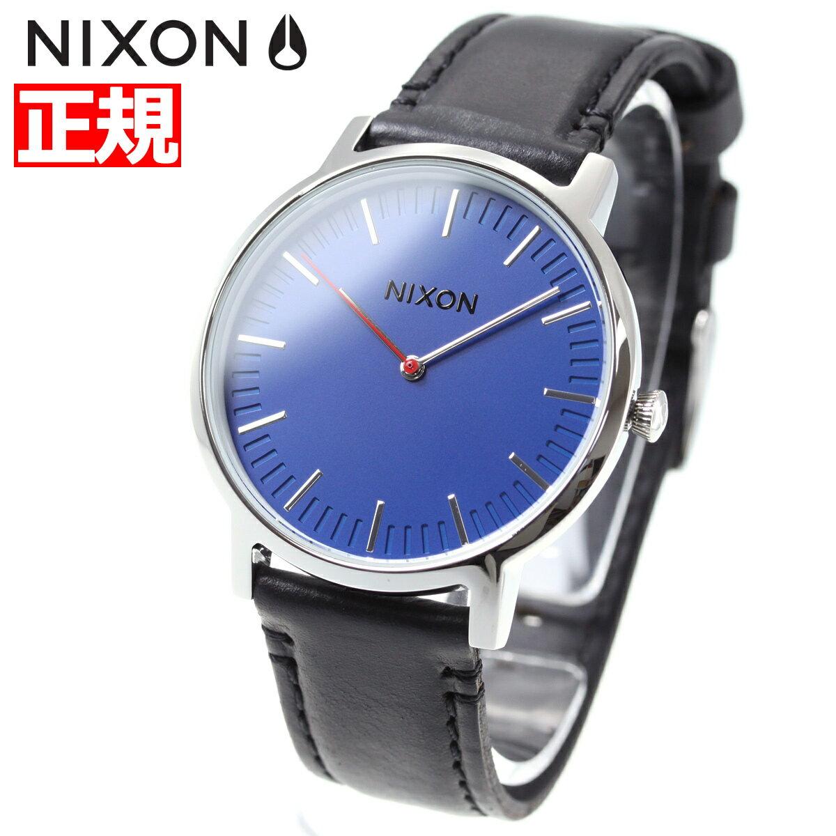 ニクソン NIXON ポーター レザー PORTER LEATHER 腕時計 メンズ/レディース ブルー/ブラック NA10581647-00