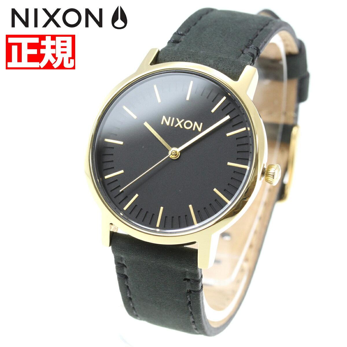 ニクソン NIXON ポーター 35 レザー PORTER 35 LEATHER 腕時計 メンズ/レディース オールブラック/ゴールド NA11991031-00