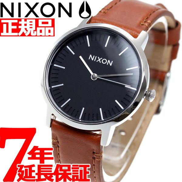 ニクソン NIXON ポーター 35 レザー PORTER 35 LEATHER 腕時計 メンズ/レディース ブラック/サドル NA11991037-00