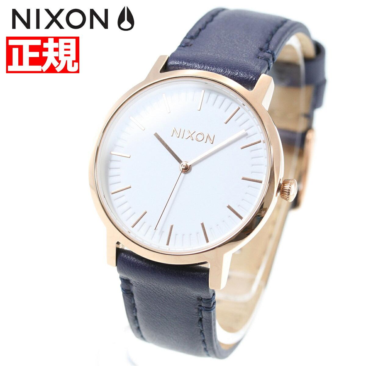 ニクソン NIXON ポーター 35 レザー PORTER 35 LEATHER 腕時計 メンズ/レディース ローズ ゴールド/ネイビー/ホワイト NA11992798-00