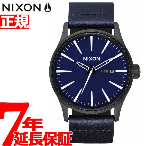 先着!クーポンで最大2千円OFF!+ポイント最大19倍!15日23時59分まで!ニクソン NIXON セントリーレザー SENTRY LEATHER 腕時計 メンズ ALL BLACK / DARK BLUE NA1052668-00【2018 新作】