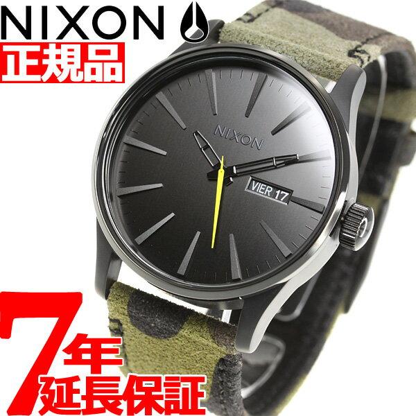 ニクソン NIXON セントリーレザー SENTRY LEATHER 腕時計 メンズ BLACK / CAMO / VOLT NA1053054-00【2018 新作】