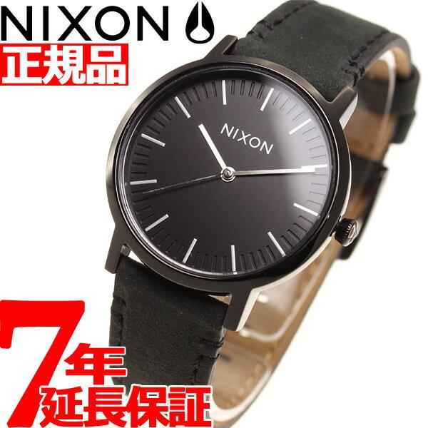 ニクソン NIXON ポーター 35 レザー PORTER 35 LEATHER 腕時計 メンズ/レディース オールブラック/シルバー NA11992345-00