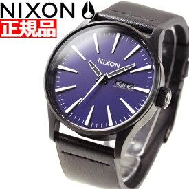 エントリーでポイント最大4倍!29日23時59分まで! ニクソン NIXON セントリーレザー SENTRY LEATHER 腕時計 メンズ ALL BLACK / DARK BLUE NA1052668-00【2018 新作】