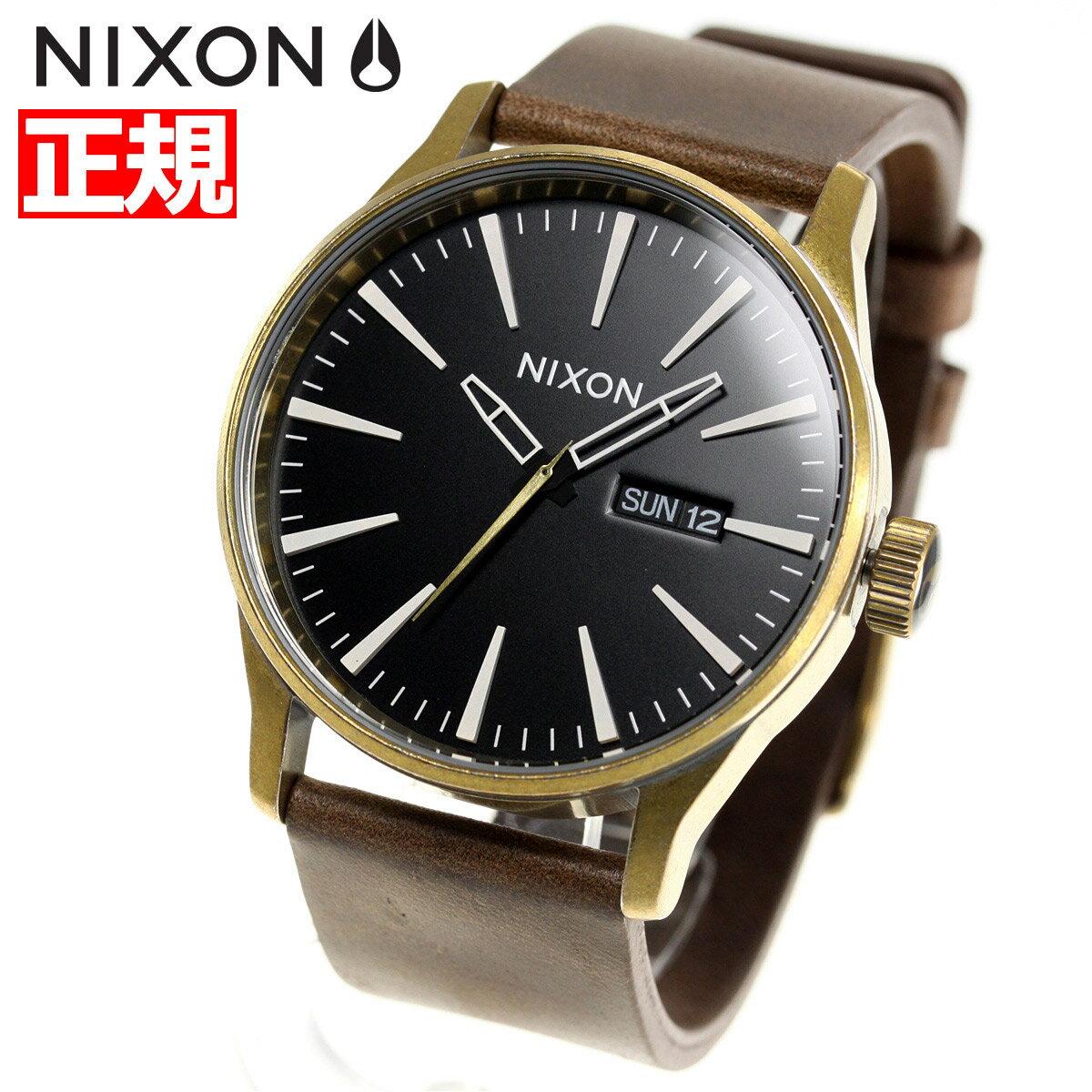 【今だけ!お得な最大1万円OFFクーポン配布中】ニクソン NIXON セントリーレザー SENTRY LEATHER 腕時計 メンズ BRASS / BLACK / BROWN NA1053053-00【2018 新作】
